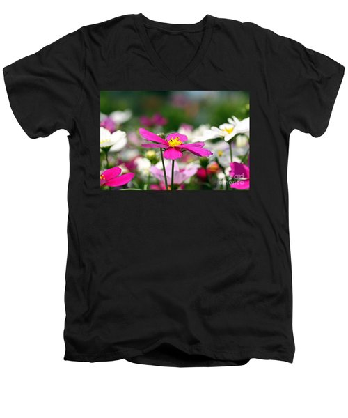 Men's V-Neck T-Shirt featuring the photograph Cosmos Flowers by Denise Pohl