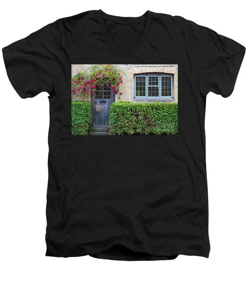 Men's V-Neck T-Shirt featuring the photograph Cotswolds Cottage Home by Brian Jannsen