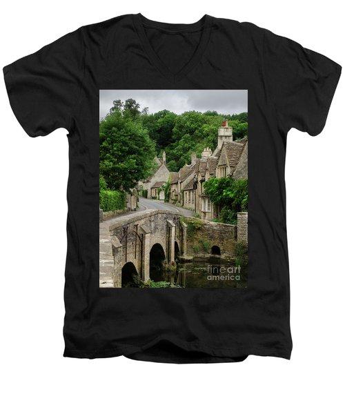 Cotswolds Village Castle Combe Men's V-Neck T-Shirt by IPics Photography