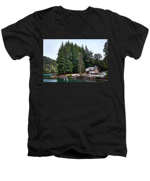 Little Cottage And Pines In The Argentine Patagonia Men's V-Neck T-Shirt