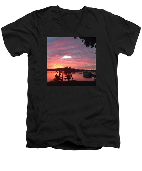 Cotton Candy Sunset Men's V-Neck T-Shirt by Rebecca Wood