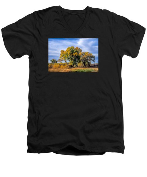 Cottonwood #1 Tree On Ranch Land In Colorado Fall Colors Men's V-Neck T-Shirt