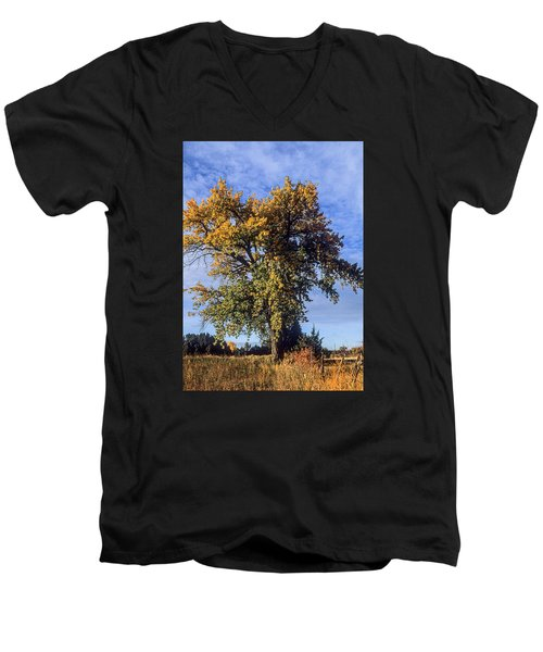 Cottonwood #3 Colorado Ranch Country In Fall Men's V-Neck T-Shirt