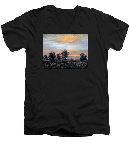 Cottonwoods At Sunset Men's V-Neck T-Shirt