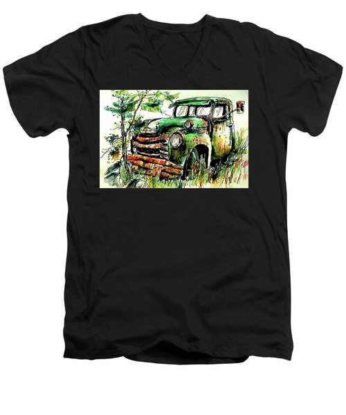 Men's V-Neck T-Shirt featuring the painting Country Antiques by Terry Banderas