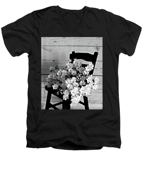 Country Porch In B And W Men's V-Neck T-Shirt by Sherry Hallemeier