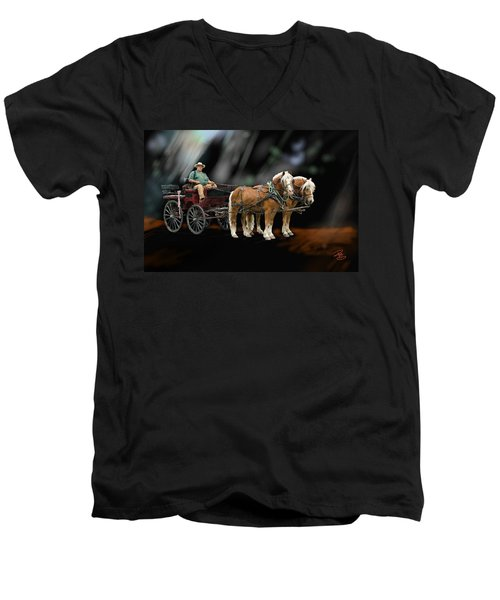Country Road Horse And Wagon Men's V-Neck T-Shirt by Debra Baldwin