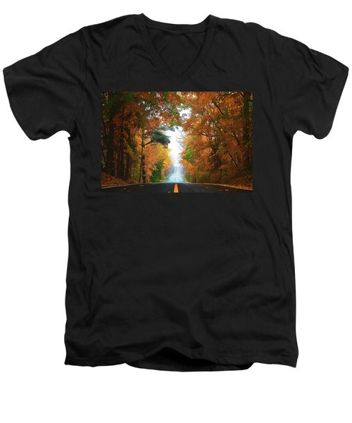 Men's V-Neck T-Shirt featuring the painting Country Roads by Harry Warrick