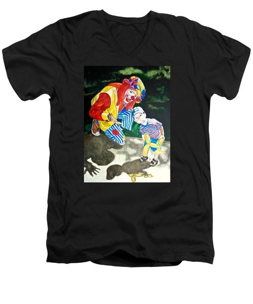 Men's V-Neck T-Shirt featuring the painting Couple Of Clowns by Lance Gebhardt