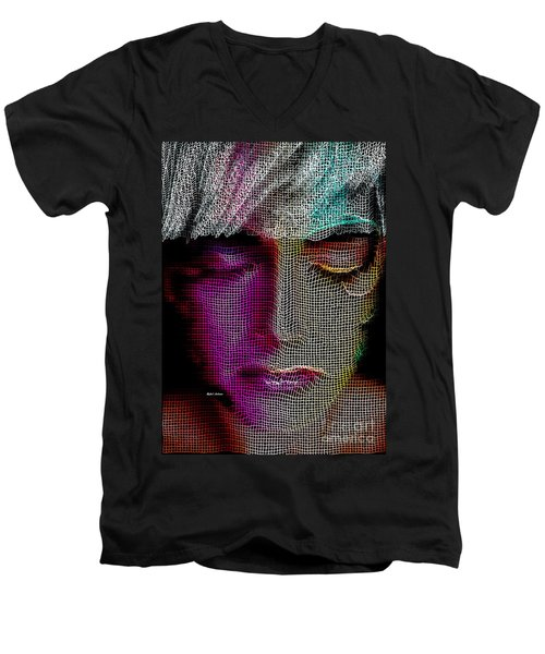 Men's V-Neck T-Shirt featuring the digital art Cover Up by Rafael Salazar