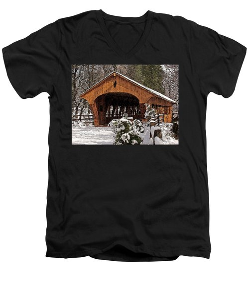 Covered Bridge At Olmsted Falls-winter-2 Men's V-Neck T-Shirt