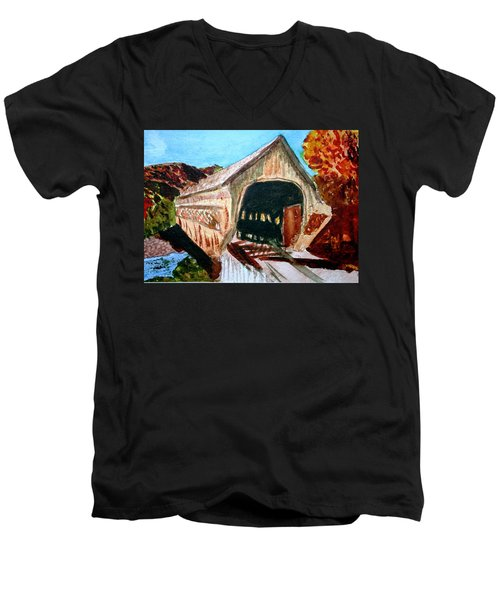 Men's V-Neck T-Shirt featuring the painting Covered Bridge Woodstock Vt by Donna Walsh