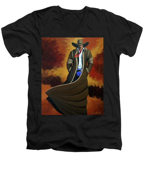 Cowboy Dust Men's V-Neck T-Shirt by Lance Headlee
