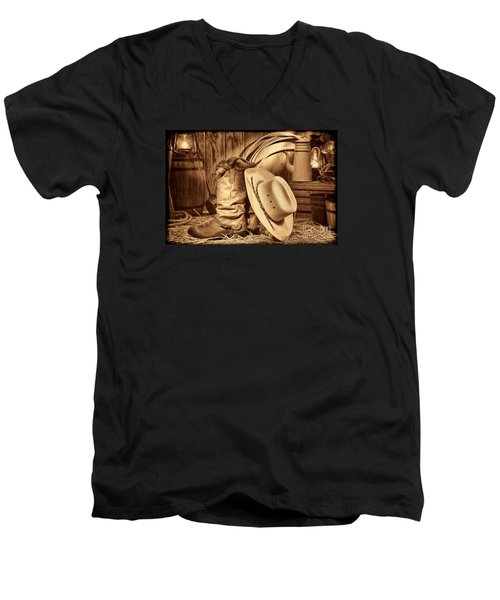 Cowboy Gear In Barn Men's V-Neck T-Shirt
