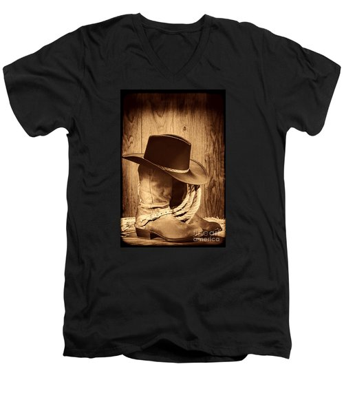 Cowboy Hat On Boots Men's V-Neck T-Shirt by American West Legend By Olivier Le Queinec