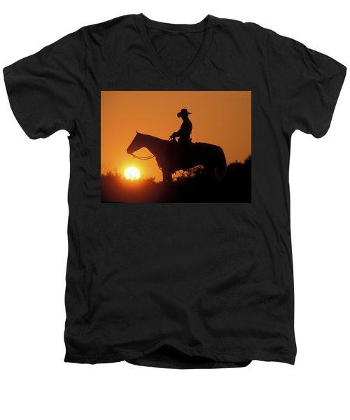 Cowboy Sunset Silhouette Men's V-Neck T-Shirt