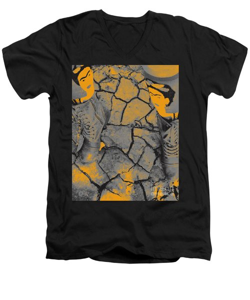 Cracked Earth With Frieda Khalo. Men's V-Neck T-Shirt