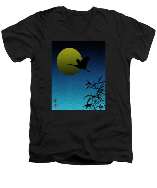 Men's V-Neck T-Shirt featuring the digital art Crane And Yellow Moon by Christina Lihani