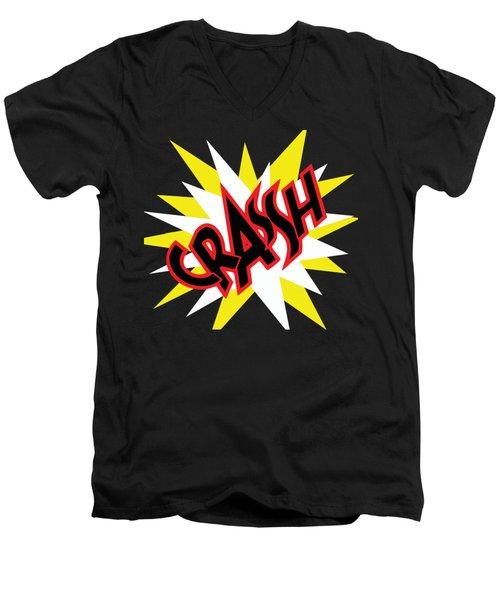 Crash T-shirt And Print By Kaye Menner Men's V-Neck T-Shirt