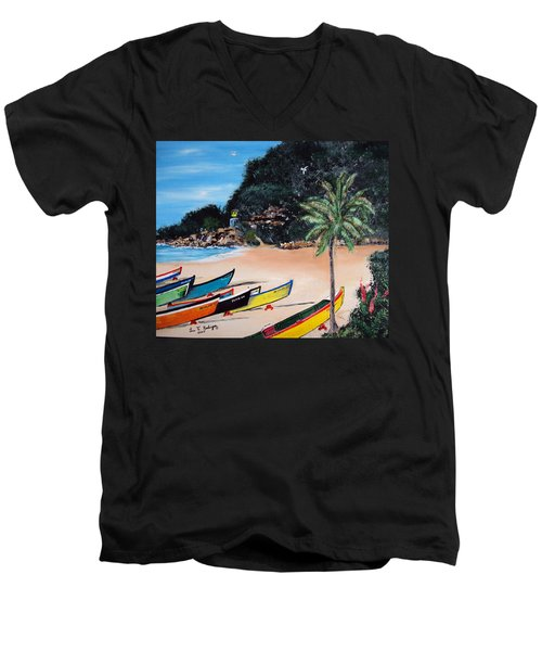 Crashboat Beach I Men's V-Neck T-Shirt by Luis F Rodriguez