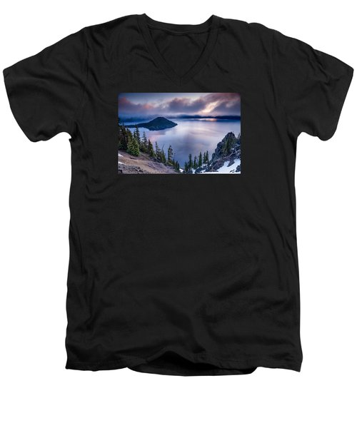 Crater Lake Spring Morning Colors Men's V-Neck T-Shirt by Greg Nyquist