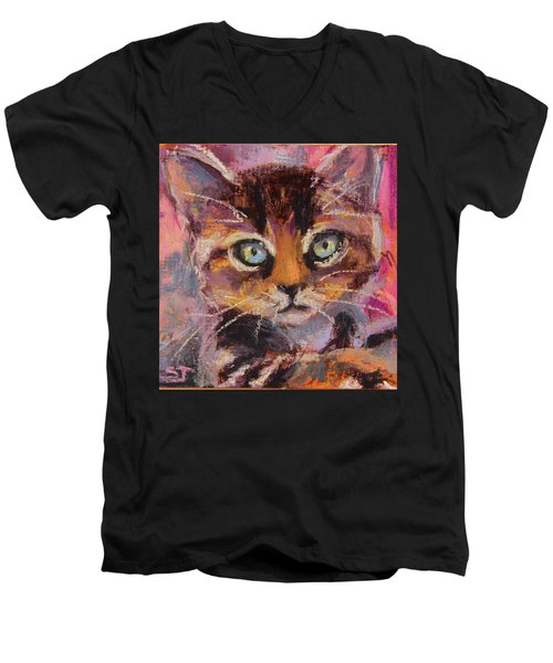 Crazy Cat Tabby  Men's V-Neck T-Shirt