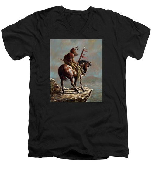 Men's V-Neck T-Shirt featuring the painting Crazy Horse_digital Study by Harvie Brown