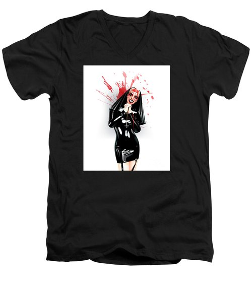 Men's V-Neck T-Shirt featuring the drawing Crazy Nun by Brian Gibbs