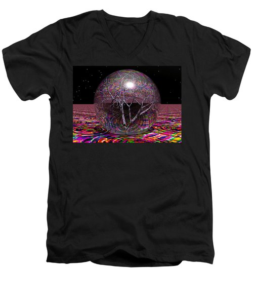 Crazy World Men's V-Neck T-Shirt by Robert Orinski