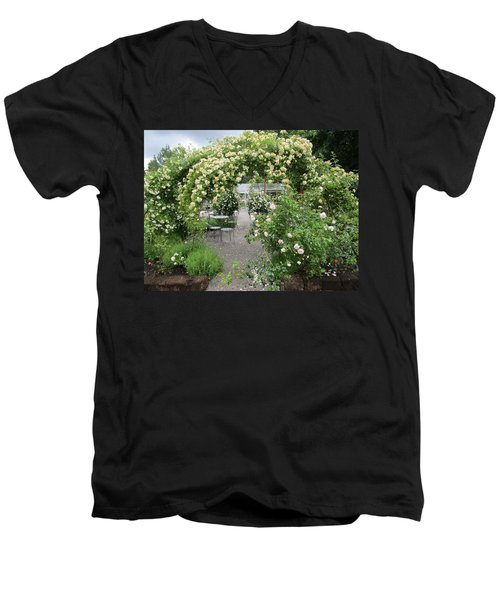 Cream-colored Roses With Your Coffee Men's V-Neck T-Shirt