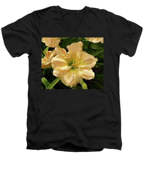 Men's V-Neck T-Shirt featuring the photograph Cream Daylily by Sandy Keeton