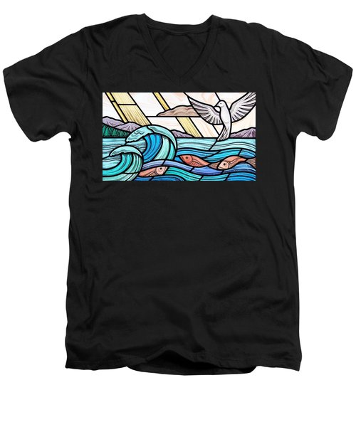 Creation Of The Sea And Sky Men's V-Neck T-Shirt by Gilroy Stained Glass