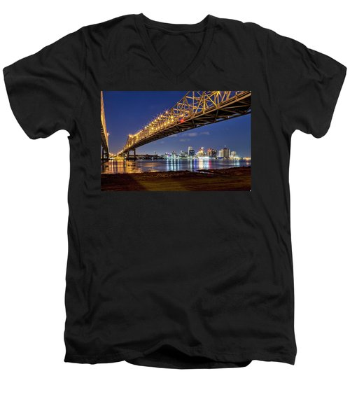 Crescent City Bridge, New Orleans Men's V-Neck T-Shirt