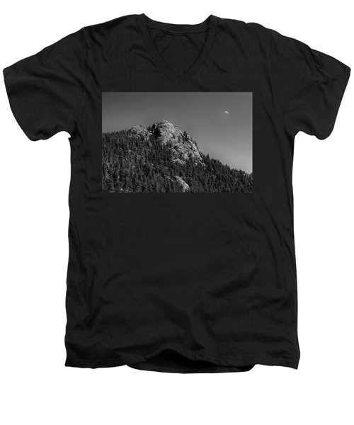 Men's V-Neck T-Shirt featuring the photograph Crescent Moon And Buffalo Rock by James BO Insogna