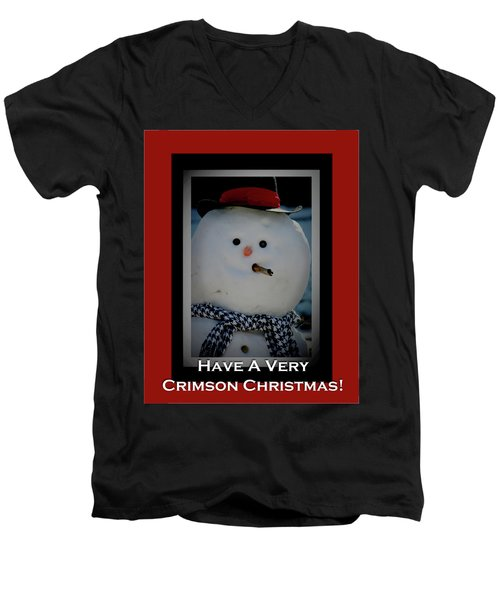 Crimson Christmas Snowman Men's V-Neck T-Shirt