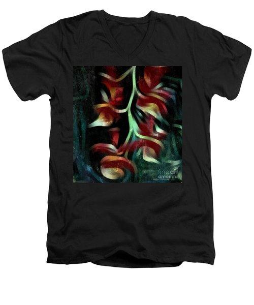 Men's V-Neck T-Shirt featuring the photograph Crimson Flow by Kathie Chicoine