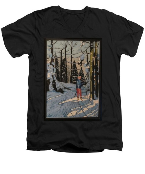 Cross Country Skiing In Upstate Ny Men's V-Neck T-Shirt