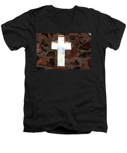 Cross Shaped Window In Chapel  Men's V-Neck T-Shirt