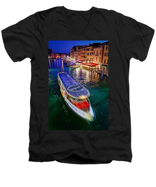 Vaporetto Crossing The Grand Canal At Night In Venice, Italy Men's V-Neck T-Shirt