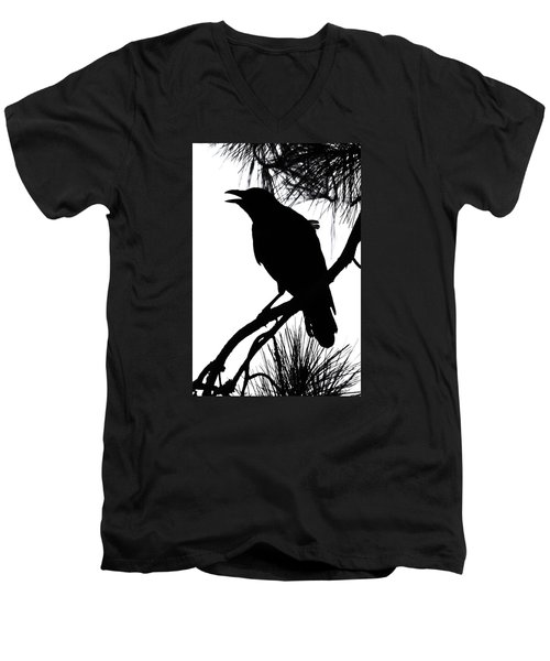 Men's V-Neck T-Shirt featuring the photograph Crow Silhouette by Patricia Schaefer