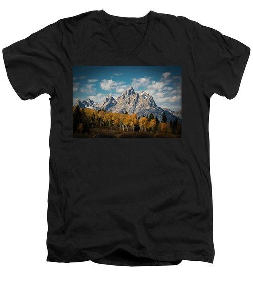 Crown For Tetons Men's V-Neck T-Shirt by Edgars Erglis