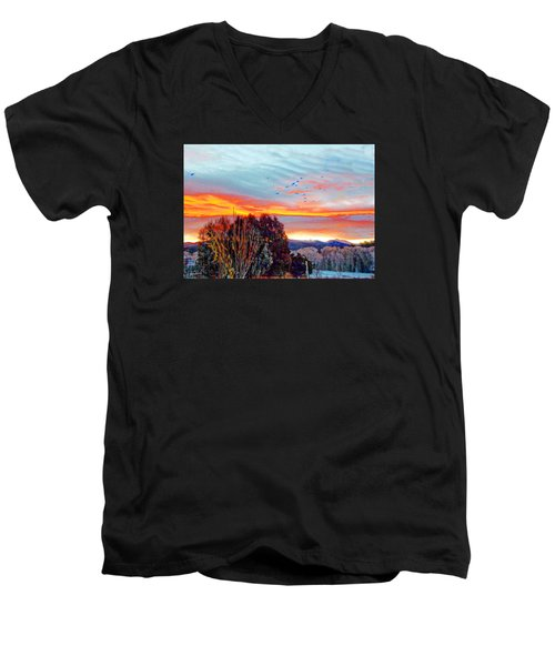 Crows Before Dawn El Valle New Mexico Men's V-Neck T-Shirt by Anastasia Savage Ealy