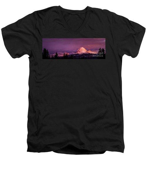 Crowsnest Sunrise Men's V-Neck T-Shirt by Brad Allen Fine Art