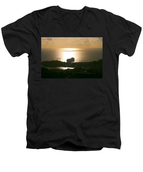 Cruise Ship At Sunset Men's V-Neck T-Shirt
