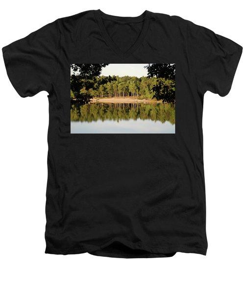 Crystal Lake In Whitehall Mi Men's V-Neck T-Shirt by Ferrel Cordle
