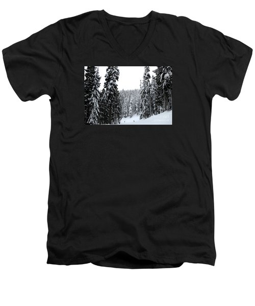 Crystal Mountain Skiing 2 Men's V-Neck T-Shirt by Tanya Searcy