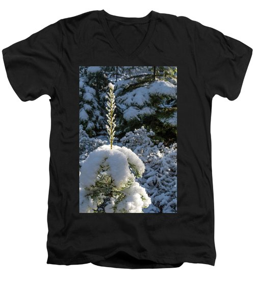 Men's V-Neck T-Shirt featuring the photograph Crystal Tree by Jan Davies