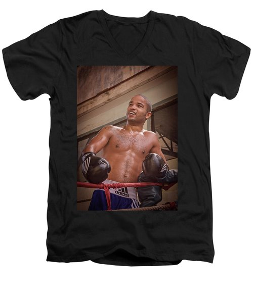 Men's V-Neck T-Shirt featuring the photograph Cuban Boxer Ready For Sparring by Joan Carroll