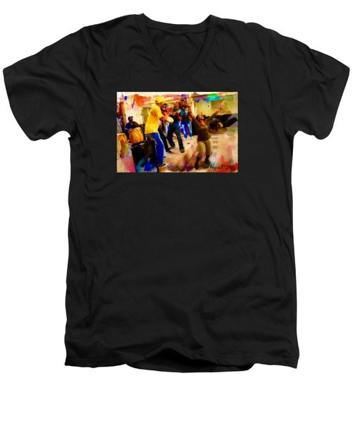 Cuban Music Men's V-Neck T-Shirt by Ted Azriel