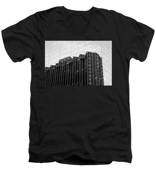 Men's V-Neck T-Shirt featuring the photograph Cubicle Farm by Valentino Visentini